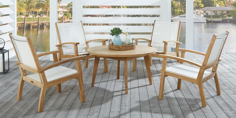 Pleasant Bay Teak Tan 5 Pc Outdoor Chat Seating Set