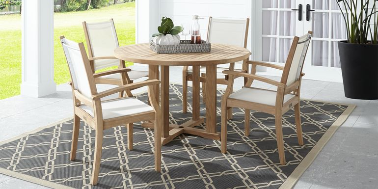 Pleasant Bay Teak Tan 5 Pc Round Outdoor Dining Set
