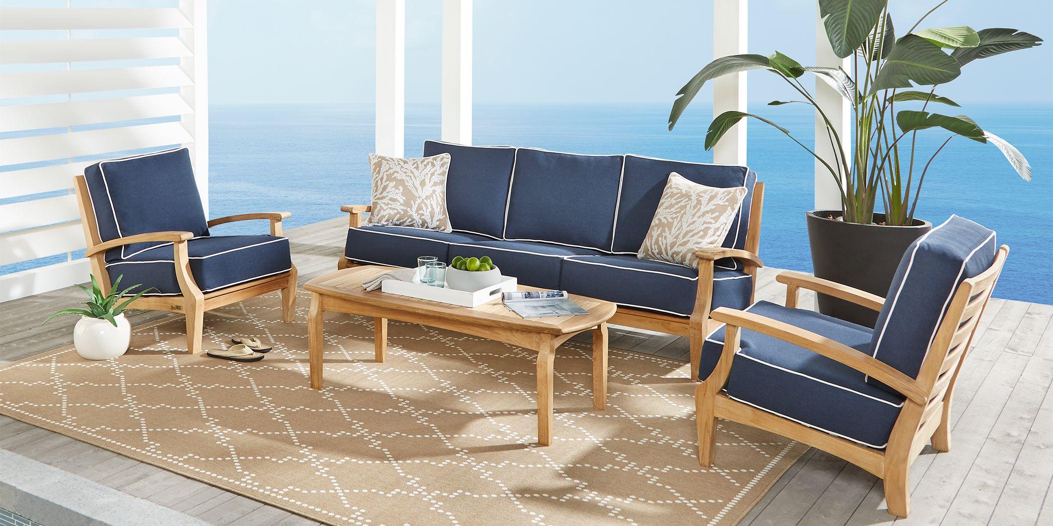 Pleasant Bay Teak Tan 6 Pc Outdoor Seating Set with Denim Cushions