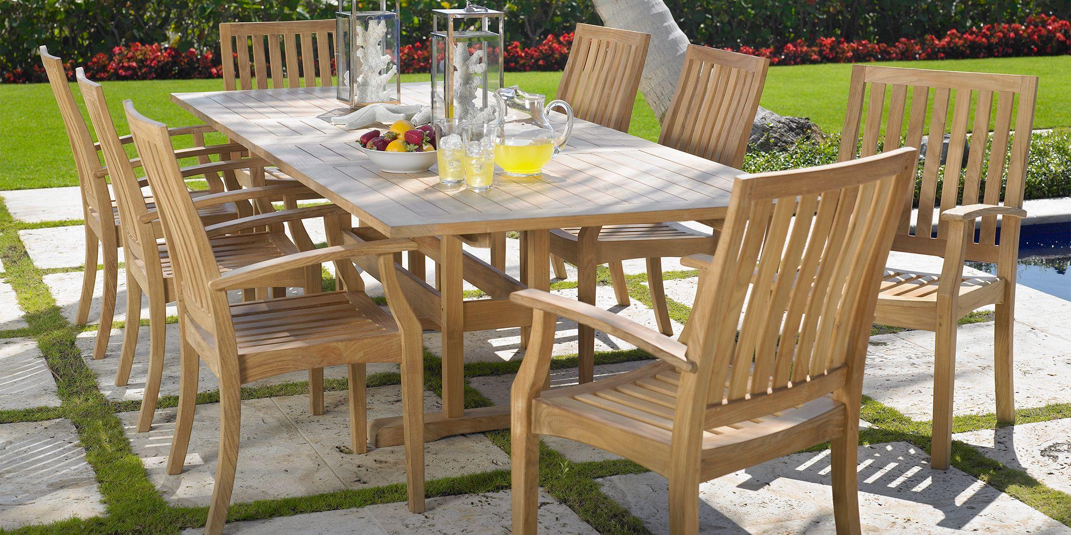 Pleasant Bay Teak Tan 7 Pc Rectangle Extension Outdoor Dining Set