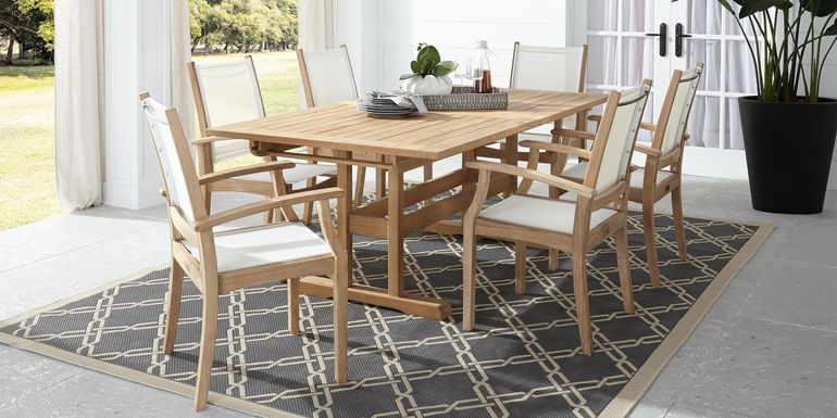 Pleasant Bay Teak Tan 7 Pc Rectangle Extension Outdoor Dining Set