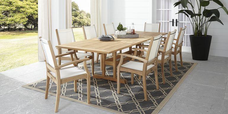 Pleasant Bay Teak Tan 9 Pc Rectangle Extension Outdoor Dining Set