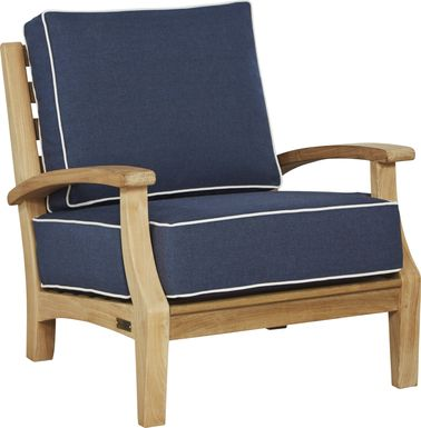 Pleasant Bay Teak Tan Outdoor Chair with Denim Cushions