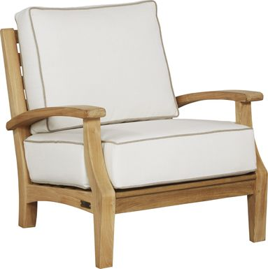 Pleasant Bay Teak Tan Outdoor Chair with White Sand Cushions