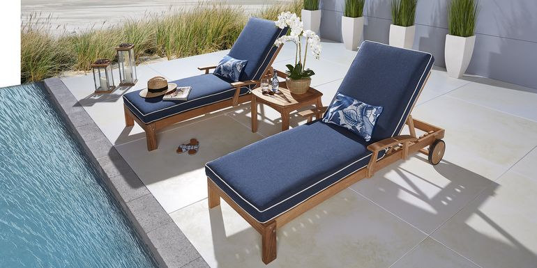 Pleasant Bay Teak Tan Outdoor Chaise with Denim Cushions, Set of 2