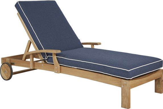 Pleasant Bay Teak Tan Outdoor Chaise with Denim Cushions