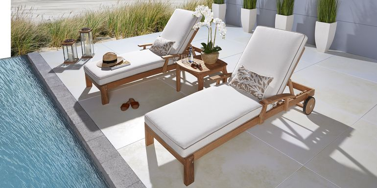Pleasant Bay Teak Tan Outdoor Chaise with White Sand Cushions, Set of 2