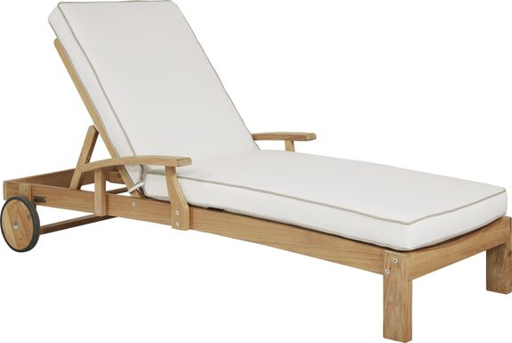 Pleasant Bay Teak Tan Outdoor Chaise with White Sand Cushions