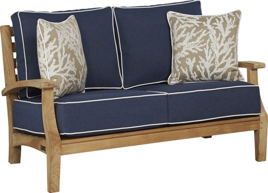 Pleasant Bay Teak Tan Outdoor Loveseat with Denim Cushions