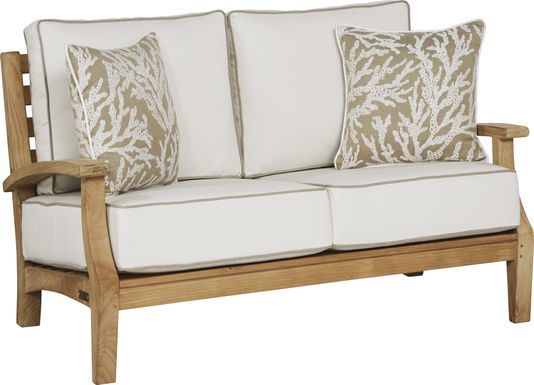 Pleasant Bay Teak Tan Outdoor Loveseat with White Sand Cushions