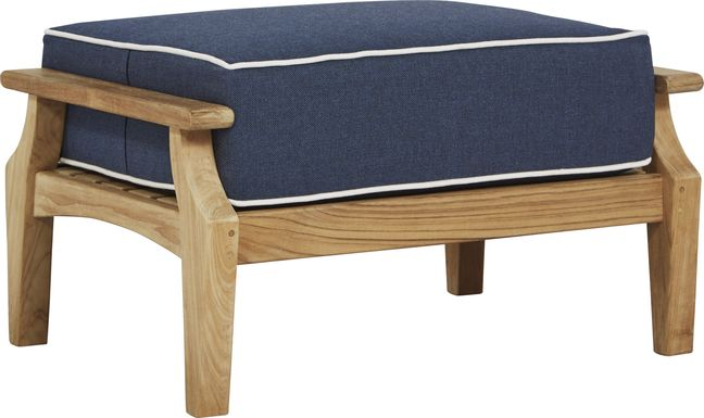 Pleasant Bay Teak Tan Outdoor Ottoman with Denim Cushion