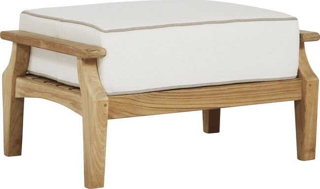 Pleasant Bay Teak Tan Outdoor Ottoman with White Sand Cushion