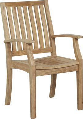 Pleasant Bay Teak Tan Outdoor Slat Back Arm Chair