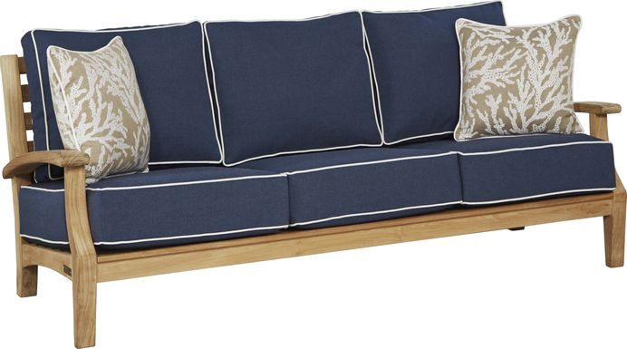 Pleasant Bay Teak Tan Outdoor Sofa with Denim Cushions