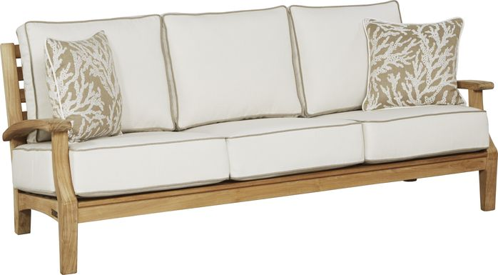 Pleasant Bay Teak Tan Outdoor Sofa with White Sand Cushions