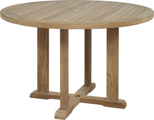 Pleasant Bay Teak Tan Round Outdoor Dining Table