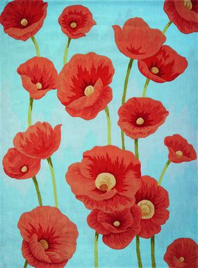 Kids Poppies In Bloom Blue 5' x 7'6 Rug