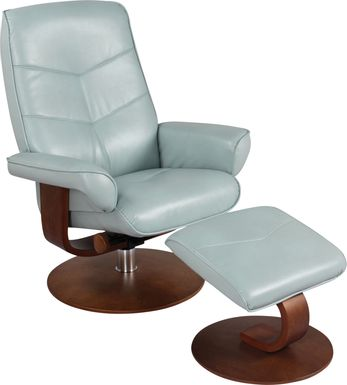 Powis Light Blue Recliner & Ottoman