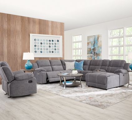 Prescott Point Gray 6 Pc Power Reclining Sectional