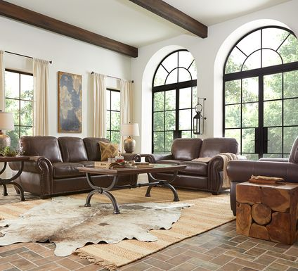 Rapallo Mahogany Leather 5 Pc Living Room