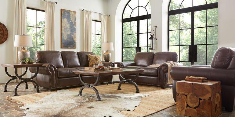 Rapallo Mahogany Leather 6 Pc Living Room