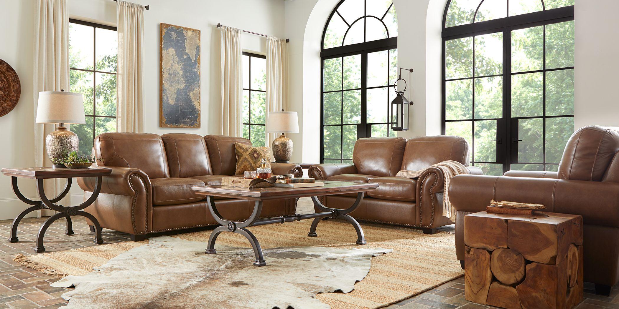 Rapallo Saddle Leather 6 Pc Living Room