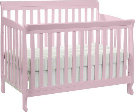 Reena Petal Pink Convertible Crib with Toddler Rail