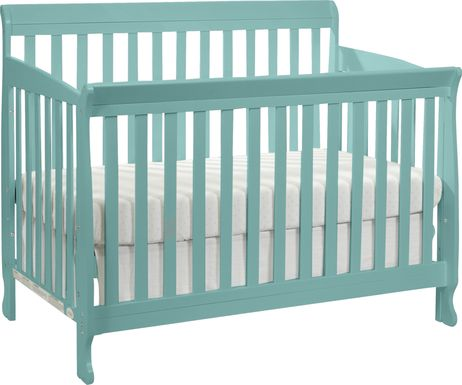 Reena Turquoise Convertible Crib with Toddler Rail