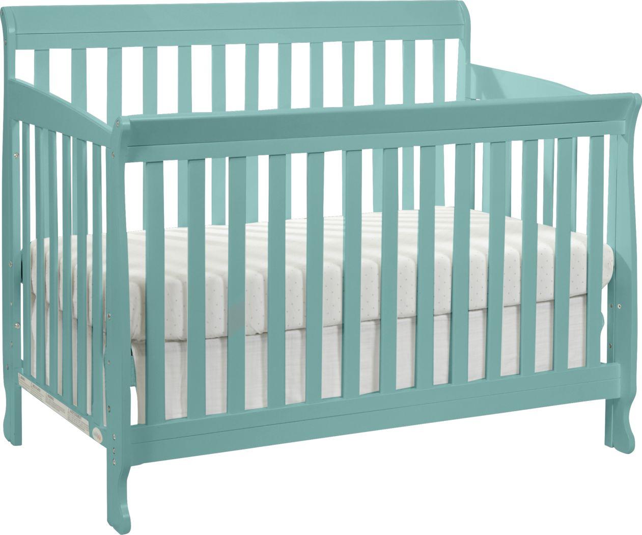 Reena Turquoise Convertible Crib with Toddler Rail