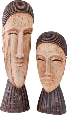 Regal Siblings Brown Sculptures Set of 2