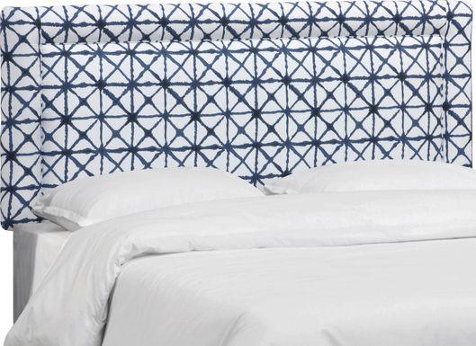 Rhombusland Blue Queen Upholstered Headboard