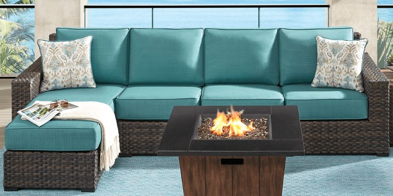 Rialto Brown 3 Pc Outdoor Sectional with Aqua Cushions