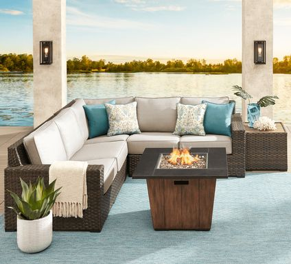 Rialto Brown 3 Pc Outdoor Sectional with Putty Cushions