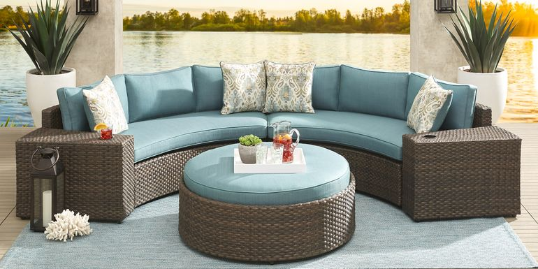 Rialto Brown 4 Pc Curved Outdoor Sectional with Aqua Cushions