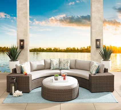 Rialto Brown 4 Pc Curved Outdoor Sectional with Putty Cushions