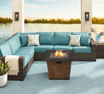 Rialto Brown 4 Pc Outdoor Sectional with Aqua Cushions