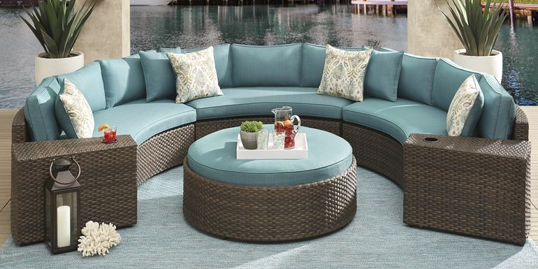 Rialto Brown 5 Pc Curved Outdoor Sectional with Aqua Cushions