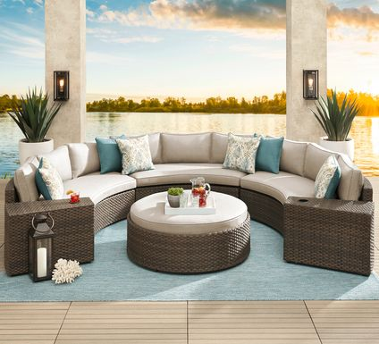 Rialto Brown 5 Pc Curved Outdoor Sectional with Putty Cushions
