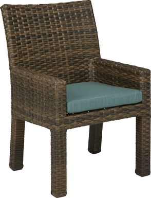 Rialto Brown Outdoor Arm Chair with Aqua Cushion