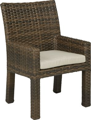 Rialto Brown Outdoor Arm Chair with Putty Cushion