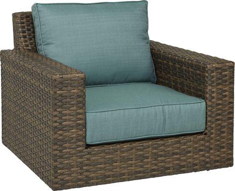 Rialto Brown Outdoor Chair with Aqua Cushions