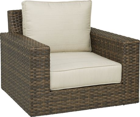 Rialto Brown Outdoor Chair with Putty Cushions