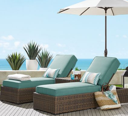 Rialto Brown Outdoor Chaise with Aqua Cushions, Set of 2