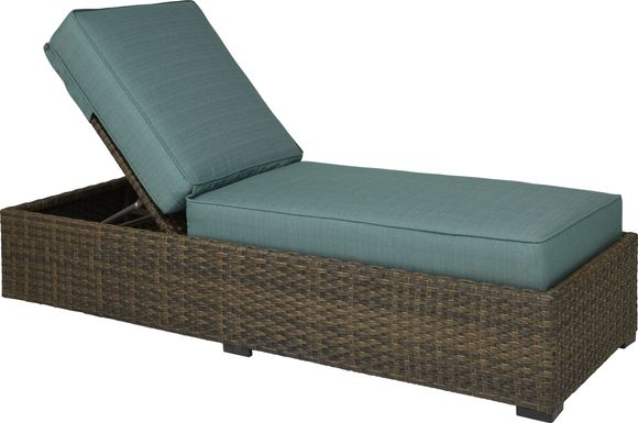 Rialto Brown Outdoor Chaise with Aqua Cushions