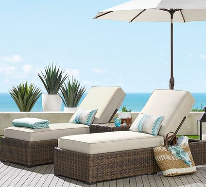 Rialto Brown Outdoor Chaise with Putty Cushions, Set of 2