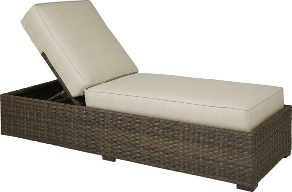 Rialto Brown Outdoor Chaise with Putty Cushions