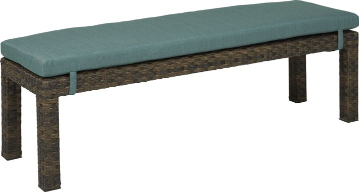 Rialto Brown Outdoor Dining Bench with Aqua Cushion