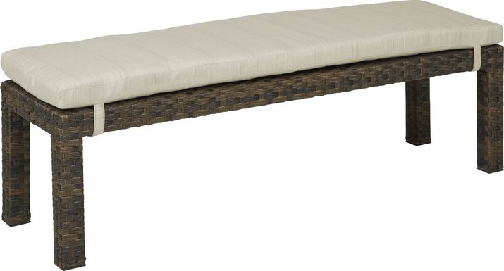 Rialto Brown Outdoor Dining Bench with Putty Cushion