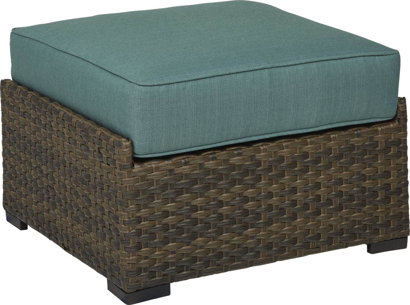 Rialto Brown Outdoor Ottoman with Aqua Cushion