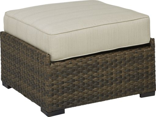 Rialto Brown Outdoor Ottoman with Putty Cushion